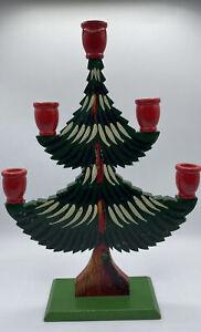 Christmas Tree Swedish Folk Art Candle Holder Wood Sweden Figurine Scandinavian