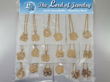 Lot of 18  Stainless Steel Necklaces with Monograms for Women. Wholesale price.