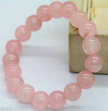 AAA 8mm Natural Round Pink Jade Gemstone Beads Stretchy Bangle Bracelet 7.5""