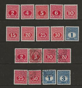 Austria Bosnia & Herzegovina 1916 Postage Due 18 stamps to 3K MH/FU see comments