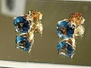 LONDON BLUE TOPAZ STUD EARRINGS SOLID 14K YELLOW GOLD