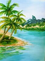 Palm Bali Beach Ocean and Mountain View Acrylic Painting Original Painted Art