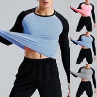 Men's Compression Gym Long Sleeve Fitness Tight Shirts Sport Yoga T-Shirt Tops