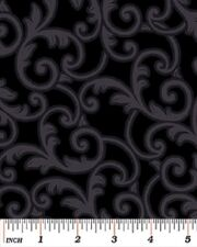 Wideback black print Quilting fabric