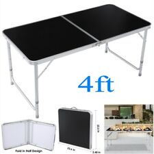 4FT Folding Table Indoor Outdoor BBQ Portable Picnic Party Camp Tables Black US