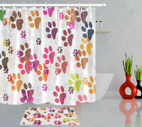 Fabric Shower Curtain Set Colorful Dog Cat Paw Decor Bathroom Accessory 72Inches