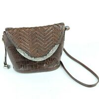 Vintage 90s Brighton Brown Woven Leather Crossbody Bag Purse Distressed hardware