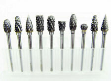 10X Solid Carbide Burrs Double Cut Set Rotary Drill Die Grinder Carving Bit