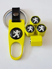 PEUGEOT BLACK TOP YELLOW DUST VALVE CAPS AND SPANNER ALL MODELS BOXED 308 208