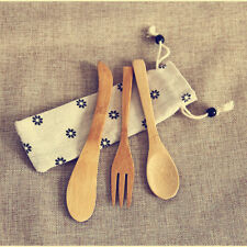3x Bamboo Flatware Fork Knife Spoon Set Long Handle Utensils Kitchen Cutlery Bag