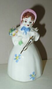 Vintage CALIFORNIA POTTERY GIRL w/ Flowers and Parasol FIGURINE