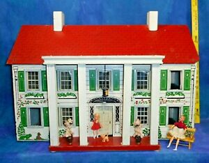 Vintage 30s-40s Rich Red Roof Plantation Dollhouse Early Stairs Lantern RARE MFA