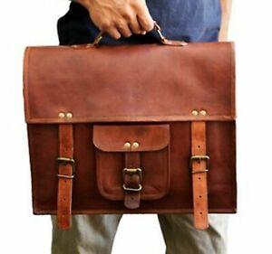 Bag Goat Leather Genuine Vintage Messenger Laptop Briefcase Real Brown Satchel