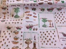 PINK GARDENING COTTON FABRIC- BY THE YARD