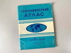 Geography Atlas for 9th Grade - 1970s Soviet Russian School Book Maps Color USSR