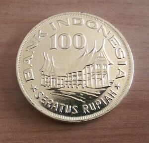 Terrific Gold Plated Indonesia 100 Rupiah dated 1978 Coin