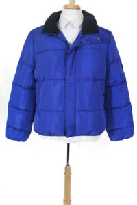 Native Youth Mens Zip Up Pioneer Nylon Puffer Coat  Blue Size Large