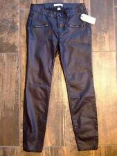 NWT ~ ADAM LEVINE black pleather faux leather pants ~ womens juniors 1 / 2