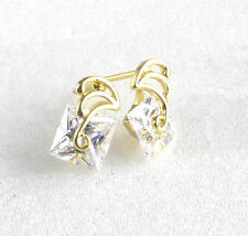 14K Yellow Gold Plated Simulated Diamond Small Square Stud Earrings UK