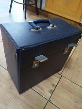 """Vintage blue 12"""" Vinyl LP Record Storage Box Carry Case"""