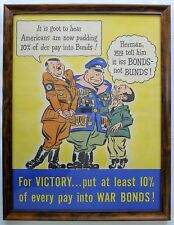 """✔ RARE! 1942 Original WWII US War Bond Poster Hitler Framed """"For Victory... 10%"""""""