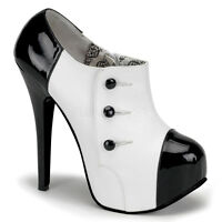 PLEASER TEEZE BORDELLO BURLESQUE WHITE & BLACK PLATFORM STILETTO HIGH HEEL SHOES