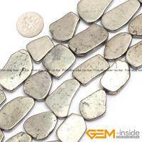 "Silver Gray Pyrite Gemstone Freeform Nugget Flat Slab Sliced Beads 15"" Strand"
