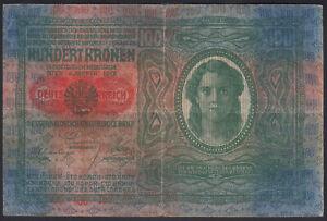 1912 (1919) Austria 100 Kronen Old Vintage Paper Money Banknote Currency Note VF