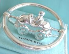 Tiffany & Co. Sterling Silver Race Car Spin in an Axle Baby Teether Rattle Ring