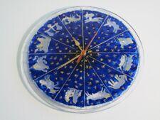 Inhabituel Pendule Mural En Verre Peinture Avec Zodiac Et Étoiles