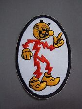 """REDDY KILOWATT Embroidered Oval Iron-On Patch - 3.75"""""""
