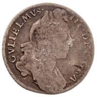 1697 Great Britain William III Sixpence Silver Coin Fine+ Conditon KM #489
