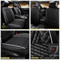 Classic Diamond Design Black PU Leather Car Full Seat Surrounded Cover Cushions