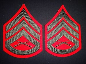 Pair Of USMC STAFF SERGEANT Rank Large Chevrons Made By WOLF - BROWN, Inc