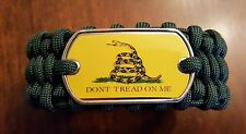 Don't Tread On Me Dark Green Paracord Survival Bracelet In Trilobite Belly Weave