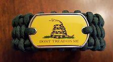 Don't Tread On Me Dark Green Paracord Survival Bracelet In Trilobite Belly Weave