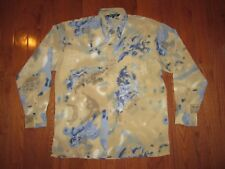 BAGAZIO MENS LONG SLV ABSTRACT PRINT CLUB SHIRT BEIGE POLYESTER SZ LARGE pre-own