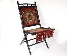 Chaise pliante bois noirci bambou tapisserie fleurs Napoléon III XIXème