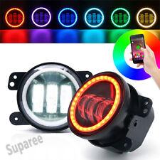 "Bluetooth 4"" 30W CREE LED Fog Light With RGB Halo Angel Eye Jeep Wrangler x2"