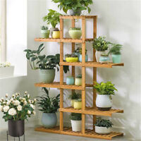 Wall Corner Wooden Plant Stand Indoor Outdoor Garden Flower Pot Shelf Space Save