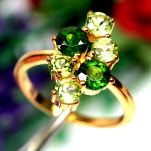 NATURAL CHROME GREEN DIOPSIDE & PERIDOT RING 925 SILVER STERLING SZ6.5