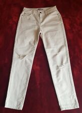 M&S Limited Edition Ladies 100% Cotton Ripped Jeans White Size 8 R Eur 36