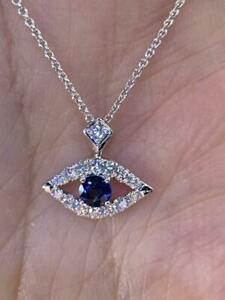 1.50Ct Round Cut Blue Sapphire Marquise Pendant 14K White Gold Over Free Chain