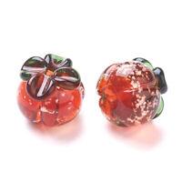5pcs Luminous Handmade Lampwork Beads Pumpkin Spacer Beads Craft Red 19.5x17mm