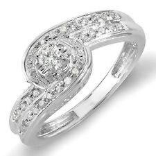 Sterling Silver Diamond Ladies Promise Engagement Bridal Ring 1/4 CT (Size 5.5)