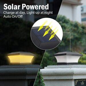 T-SUN Solar Powered LED Deck Post Light Garden Cap Square Fence Landscape Lamps