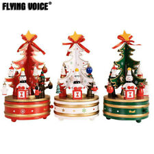 Wood Rotating Music Box Snowman Christmas Tree Xmas Present Gifts Ornaments