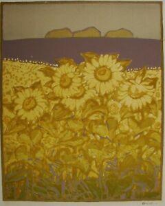 Russian Ukrainian Soviet Linocut drawings symbolism sunflower field landscape