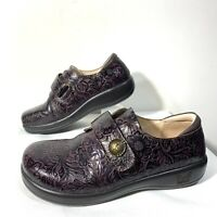 Womens Alegria JOLEEN Brown Floral Tooled Leather Clogs Shoes Sz 39 US 8.5 $129