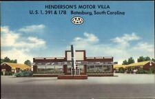 Batesburg SC Henderson's Motor Villa Linen Car Dealership Postcard